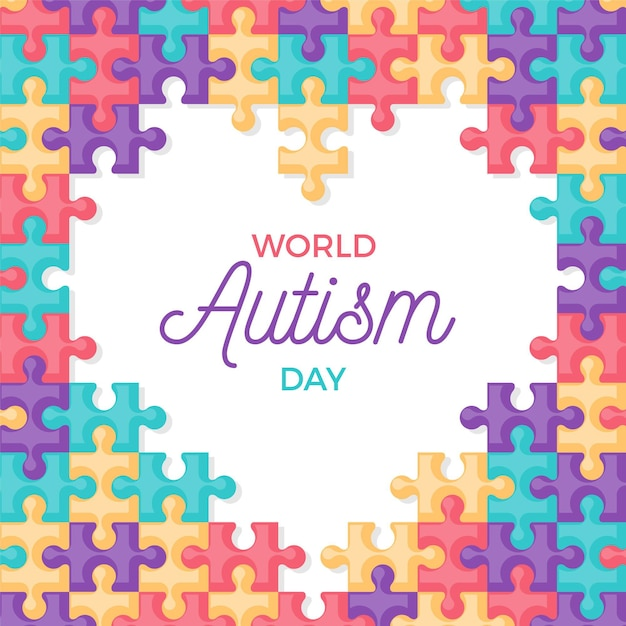 Flat world autism awareness day illustration with puzzle pieces