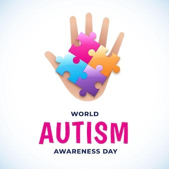 パズルのピースとフラットな世界自閉症啓発デーのイラスト