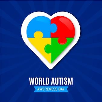 Flat world autism awareness day illustration