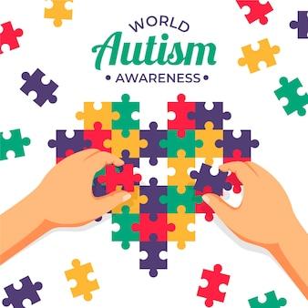フラットな世界自閉症啓発デーのイラスト