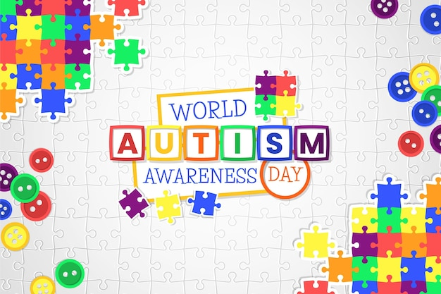 Flat world autism awareness day illustration