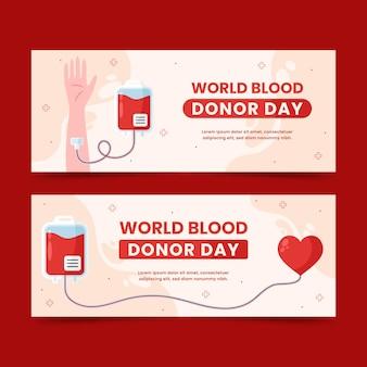 Набор плоских баннеров всемирного дня донора крови