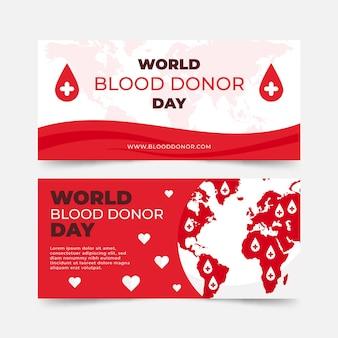 フラットな世界献血者デーのバナーセット
