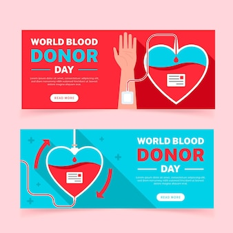 Flat world blood donor day banners set