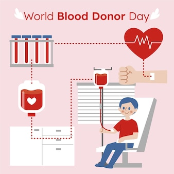 Flat world blood donor day illustration
