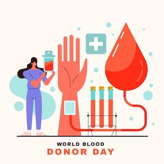 フラットな世界献血者デーのイラスト