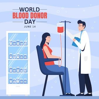 평면 세계 헌혈자의 날 그림