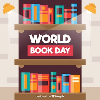 Flat world book day background