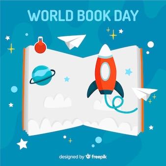 Flat world book day background