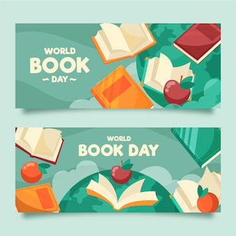 Flat world book day banners collection
