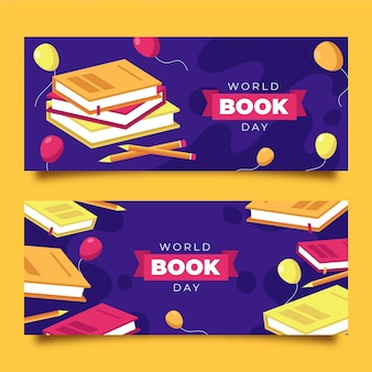 Flat world book day banners set