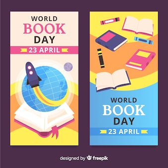 Flat world book day banners