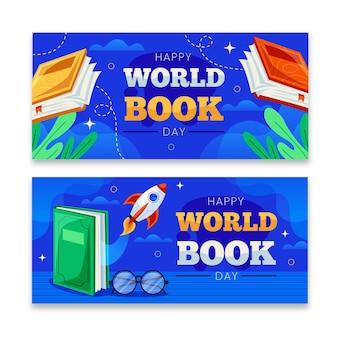 Плоские баннеры всемирного дня книги