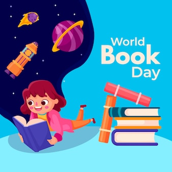 Flat world book day concept
