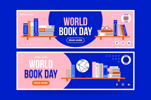 Flat world book day horizontal banners