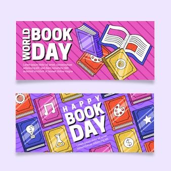 Banner orizzontale piatto giornata mondiale del libro