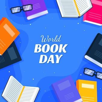 Flat world book day illustration