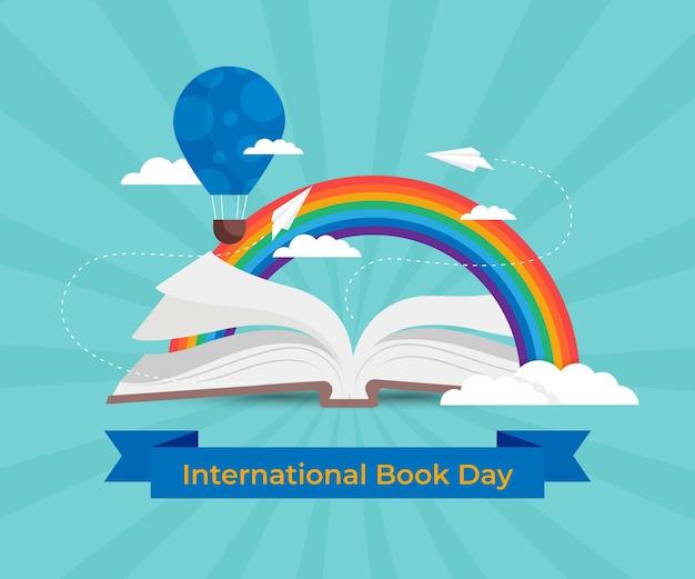 Illustrazione della giornata mondiale del libro piatta