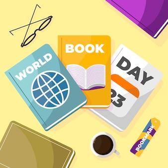 フラットな世界の本の日のイラスト