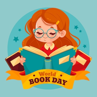 Flat world book day illustration