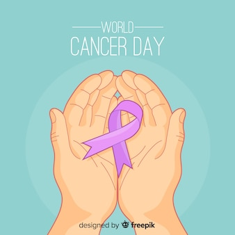 Flat world cancer day background
