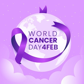 Flat world cancer day purple ribbon on earth globe