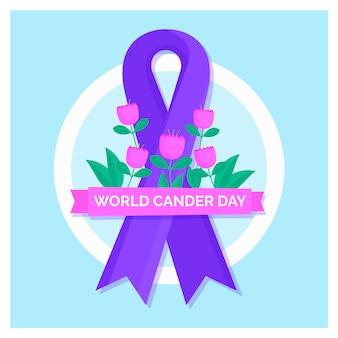 Nastro viola di giornata mondiale del cancro piatto con fiori