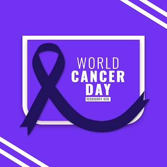 Flat world cancer day ribbon