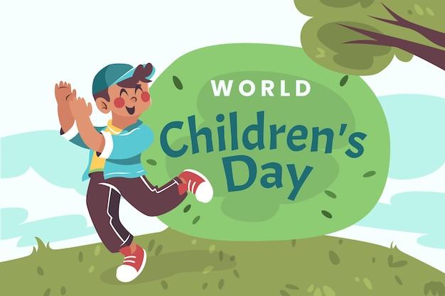 Плоский всемирный детский день фон