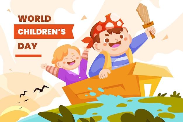 Flat world children's day background