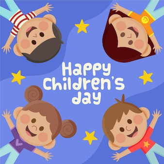 Flat world children's day celebration