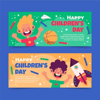 Set di banner orizzontali per la giornata mondiale dei bambini piatti