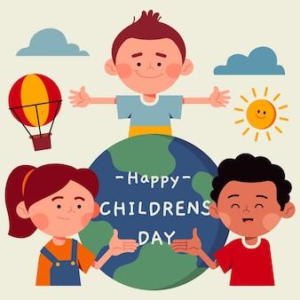 Flat world children's day illustration