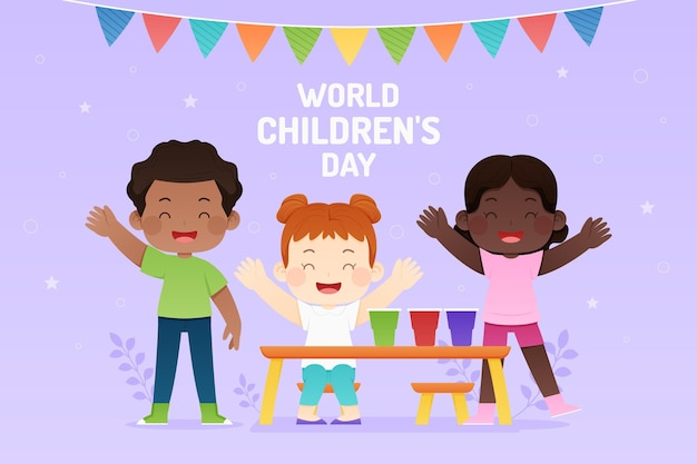 Flat world children's day illustration