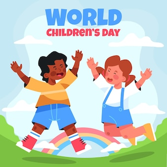 평면 세계 어린이 날 그림