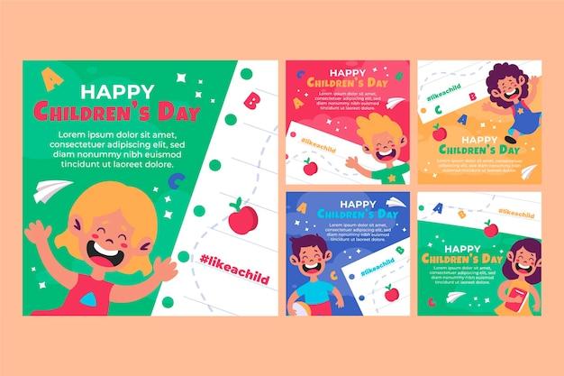 Collezione di post instagram per la giornata mondiale dei bambini piatti
