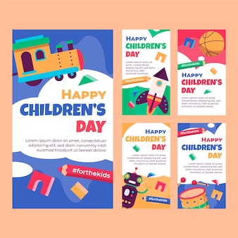 Raccolta di storie di instagram per la giornata dei bambini del mondo piatto