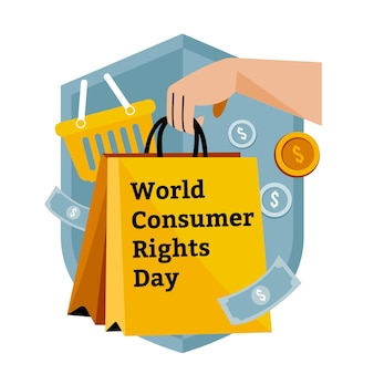 Flat world consumer rights day illustration