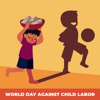 Flat world day against child labour illustration