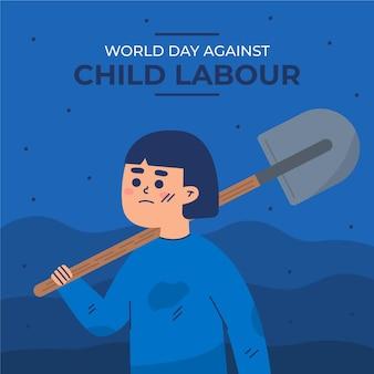 아동 노동 일러스트에 대한 평평한 세계의 날