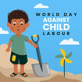 Giornata mondiale piatta contro l'illustrazione del lavoro minorile