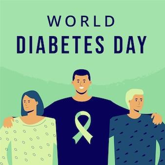 Flat world diabetes day illustration