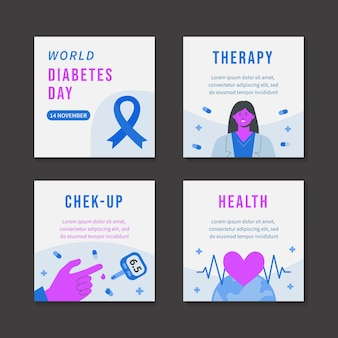 Flat world diabetes day instagram posts collection