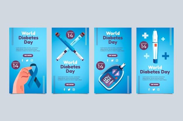 평평한 세계 당뇨병의 날 인스타그램 스토리 컬렉션