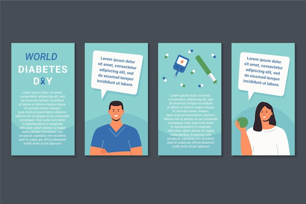 Flat world diabetes day instagram stories collection