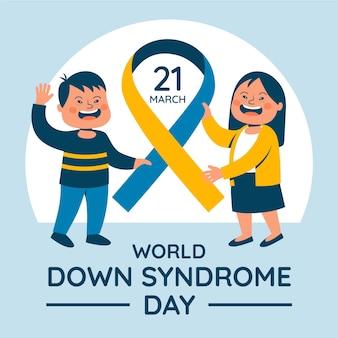 Celebrazione della giornata mondiale della sindrome di down piatto
