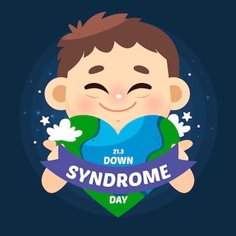 Evento della giornata mondiale della sindrome di down piatto