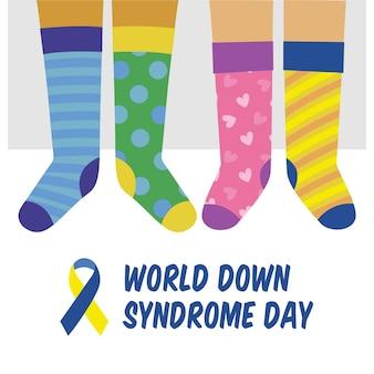 Giornata mondiale della sindrome di down piatta illustrata