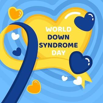 フラット世界ダウン症の日のイラスト
