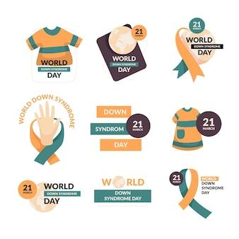 Collezione di etichette per la giornata mondiale della sindrome di down piatto